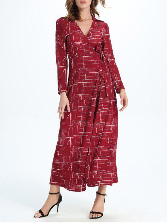 hot Maxi Wrap Long Sleeve Dress - RED L