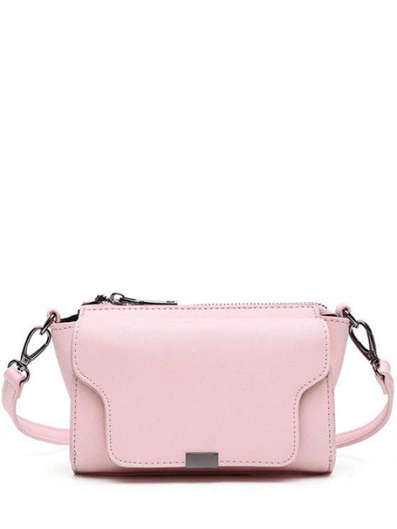 PU Leather Magnetic Closure Zipper Crossbody Bag