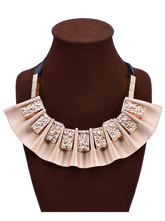 trendy Geometric Faux Leather Fake Collar Necklace - YELLOW
