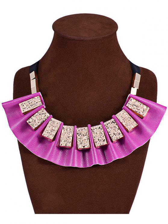 fashion Geometric Faux Leather Fake Collar Necklace - PURPLE