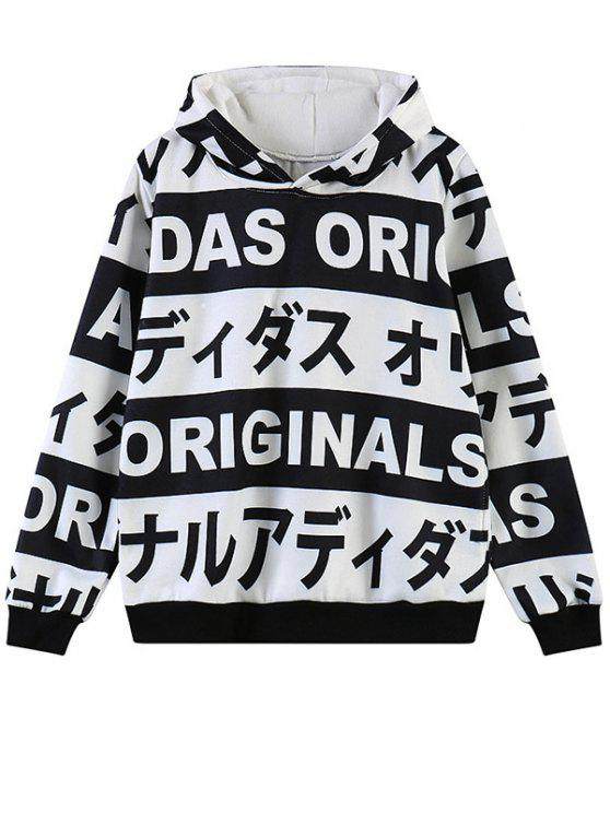 new Letter Print Fleece Hoodie - WHITE ONE SIZE
