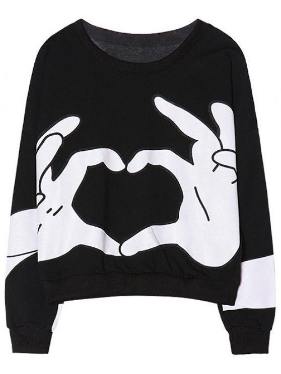 Round Neck Gesture Imprimer Sweatshirt - Noir TAILLE MOYENNE