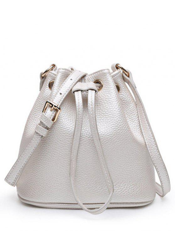 womens Drawstring PU Leather Light Colour Crossbody Bag - SILVER WHITE
