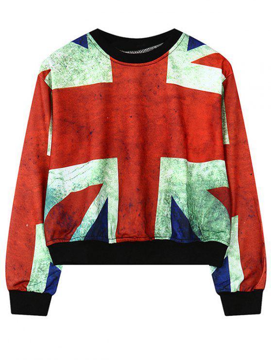 Rundhals-britisches Flaggen-Druck-Sweatshirt - Rot Eine Größe