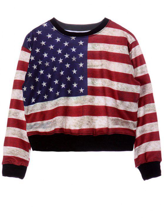 4cff524bd89d 28% OFF] 2019 Round Neck American Flag Print Sweatshirt In COLORMIX ...
