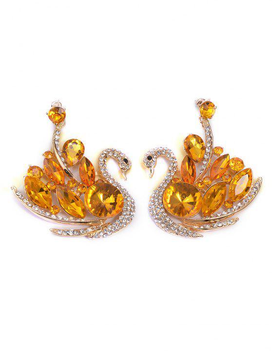 Faux cristal Swan Boucles d'oreilles bijoux de mariage - Jaune