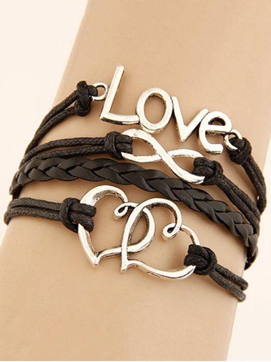 women Interlink Heart Braided Bracelet - BLACK