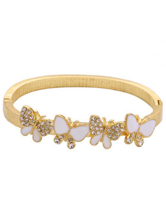 Bracelet papillon strass - Or