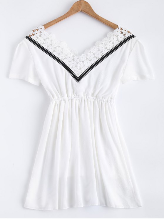 lady Lace Splice V Neck Chiffon Dress - WHITE L