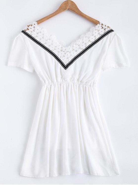 Encaje de empalme V vestido de la gasa del cuello - Blanco L