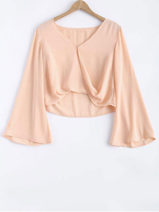 fashion Bell Sleeve V Neck Crossed Tee - PINK L