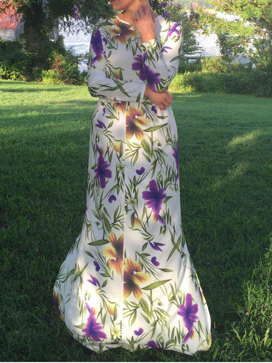 ladies Long Sleeve Floral Print Maxi Dress - WHITE L