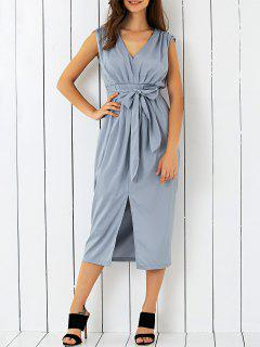 V Neck Belted Midi Dress - Gray S
