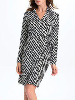Géométrique Imprimer Midi Wrap Dress - Blanc Et Noir M