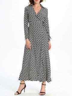 Geometric Print Maxi Wrap Long Sleeve Dress - White And Black M