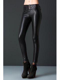 PU Leather Pants - Black L