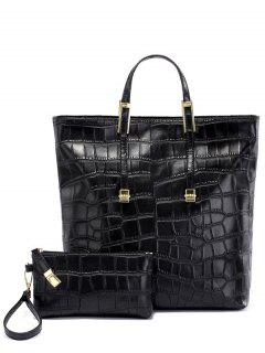 Crocodile Embossed Metal Buckle Tote Bag - Black