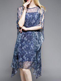 Poncho Silk Dress With Cami Dress - Blue M