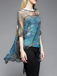 Silk Poncho Top With Cami Top - Blue M