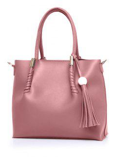 Tassels Metal Bead Tote Bag - Pink