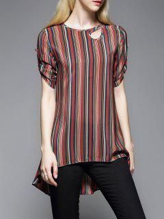 Striped Silk Top - M