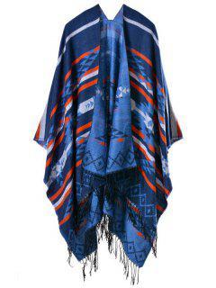 Triangle Rhombus Tassel Pashmina Poncho - Deep Blue
