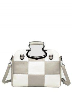 Color Block Checkered Tote Bag - Light Gray
