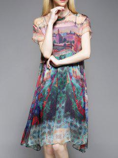 Robe En Soie Imprimée Avec Cami Dress - M