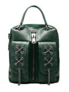 Chains Zippers PU Leather Backpack - Blackish Green