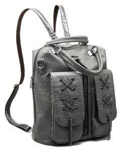 Chains Zippers PU Leather Backpack - Gray