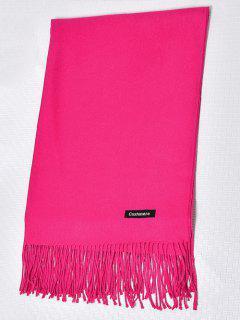 Wool Spinning Tassel Scarf - Rose Red
