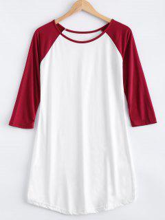 Raglán De La Manga Del Color Del Bloque Vestido De La Camiseta - Blanco S
