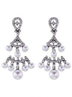 Pendientes Con Forma De Abanico Rhinestoned Perlas De Imitación - Plata
