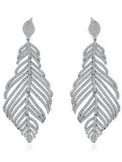 Rhinestoned Leaf Wedding Earrings Jewelry - Silver