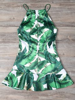 Camisole Palm Print Dress - White And Green