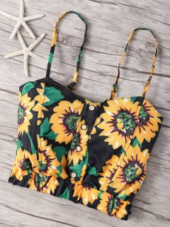 Sunflower Print Cami Top - Black