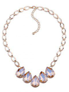 Faux Crystal Adorn Water Drop Necklace - Tea-colored