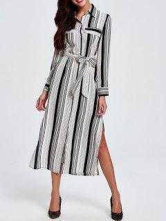 Striped Shirt Collar Long Sleeve Shirt Dress - White L