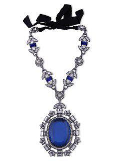 Faux Gem Rhinestone Leaf Oval Necklace - Blue