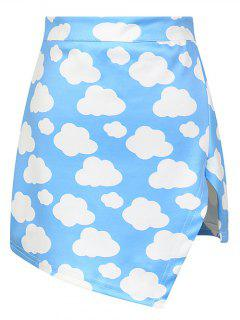 Cloud Print Asymmetric Slit Skirt - Azure