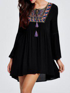 High-Low Loose Round Neck Flare Sleeve Blouse - Black M