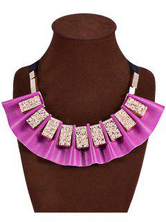 Geometric Faux Leather Fake Collar Necklace - Purple