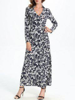 Allover Print Maxi Wrap Dress - White And Black L