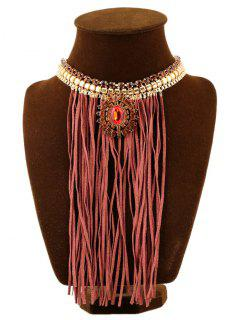 Faux Ruby Tassel Leather Rope Necklace - Coffee