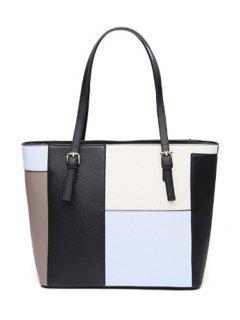 Color Splicing PU Leather Buckles Shoulder Bag - Light Blue