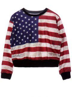 Round Neck American Flag Print Sweatshirt