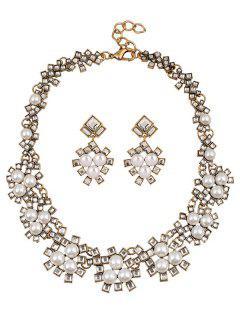 Rhinestone Faux Pearl Wedding Jewelry Set - White