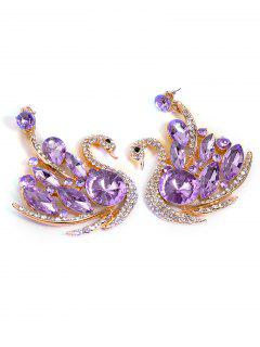 Faux Crystal Swan Wedding Earrings Jewelry - Purple