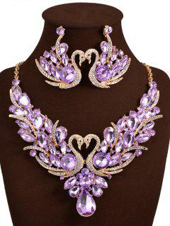 Artificial Crystal Swan Wedding Jewelry Set - Purple