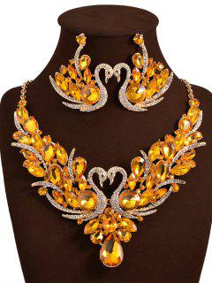 Artificial Crystal Swan Wedding Jewelry Set - Yellow